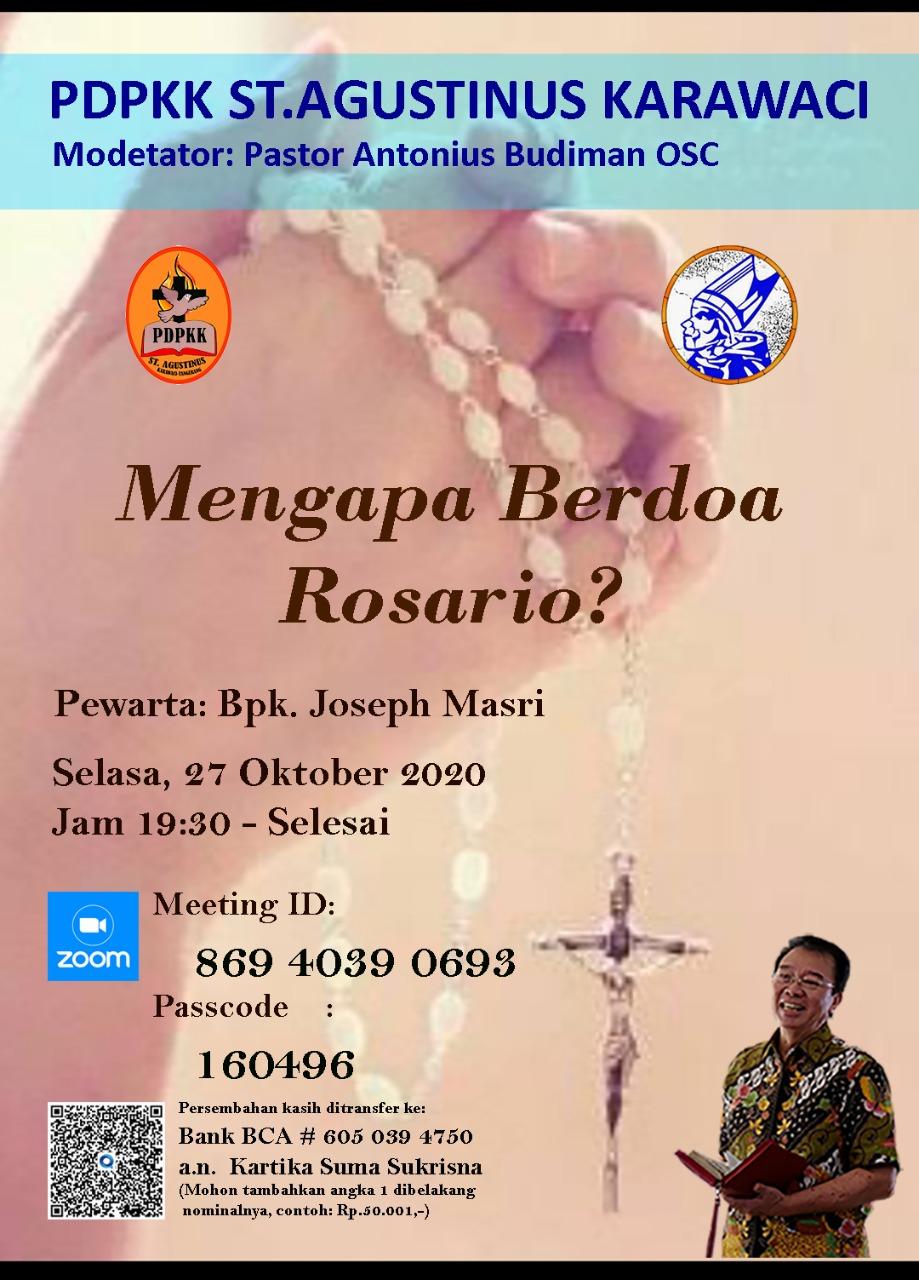 PDPKK St Agustinus – Jakarta Selasa, 27 Oktober 2020 Pukul 19:30 (Open Room)
