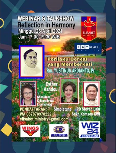 KEMBALI HADIR WEBINAR & TALKSHOW GRATIS REFLECTION IN HARMONY by Elisabet Ministry